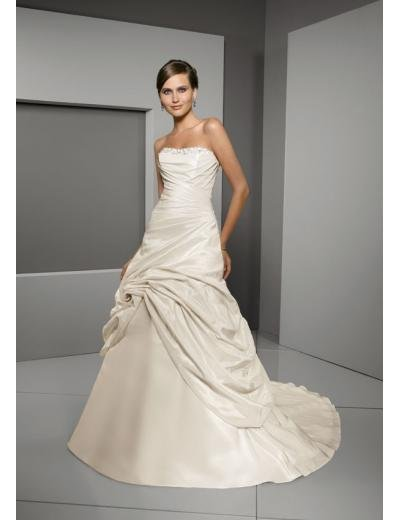A-Line/Princess Strapless Chapel Train Satin wedding dress for brides gowns new Style(WD0272)