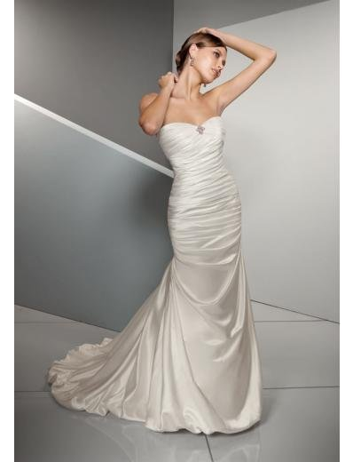 A-Line/Princess Strapless Chapel Train Satin wedding dress for brides gowns new Style(WD0273)