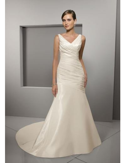 A-Line/Princess V-neck Chapel Train Satin wedding dress for brides gowns new Style(WD0276)