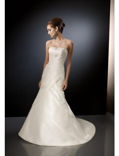 A-Line/Princess Strapless Chapel Train Satin wedding dress for brides gowns new Style(WD0288)