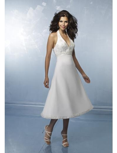 A-Line/Princess halter top knee-length Satin wedding dress for brides gowns new style(WDS0003)