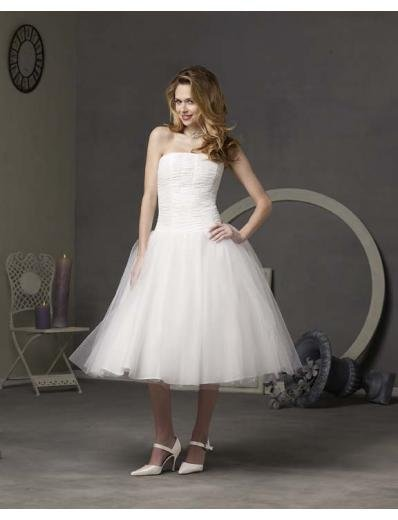 A-Line/Princess Strapless knee-length organza wedding dress for brides gowns new style(WDS0005)