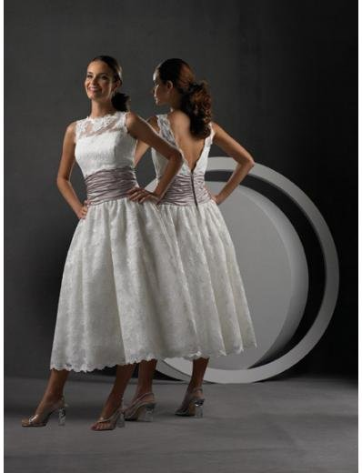 A-Line/Princess high-neck Tea-length Lace wedding dress for brides gowns new Style(WDS0017)