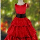 Three Tiered Red Children's Christmas Dress(01)