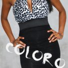 Black with leopard skin pattern Sexy Women's Clothing for Clubwear Halter Tops Blouse Free Size