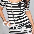 #5 Black White Striped Sexy Women's Clothing for Clubwear Halter Tops Blouse Free Size