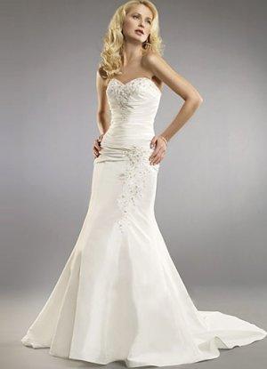 White Mermaid Trumpet Strapless Sweetheart Sweep Taffeta Wedding Dress(y0918015)