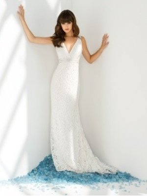 A-Line/Princess V-neck Chapel Train lace wedding dress for bridal(y0809030)
