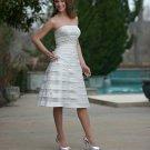 A-Line/Princess Strapless Tnee-length Satin Prom dress(DEX0041)