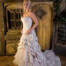 A-Line/Princess Strapless Chapel Train taffeta wedding dress(WED1201)