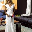 A-line/Princess Strapless Chapel Train Satin wedding dress for brides 2010style(DEX008)