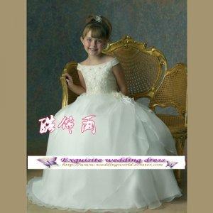 rush order A-line Off the Shoulder-neck floor-Length Organza Flower Girl Dress Custom Size WG004-12