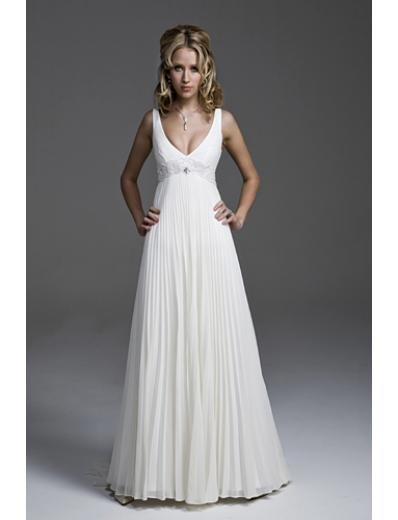 A-Line/Princess V-neck Chapel Train Chiffon wedding dress(WEDS0026) for brides Rush Order