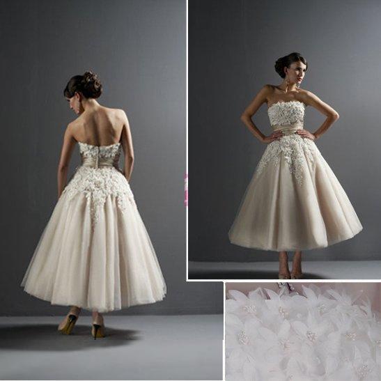 rush order Custom Made A-line Tea-length Tulle and Satin Bridal Wedding Dress / Wedding Gown