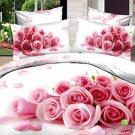 pink rose flower printed girls bedding bed linens comforter set queen quilt duvet covers