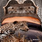 brown leopard animal printed 100% cotton bed linens bedding comforter set queen quilt duvet covers