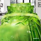 green bamboo printed 100% cotton bed linens girls bedding comforter set queen quilt duvet covers
