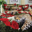 red flower brown leopard animal cotton bed linens bedding comforter set queen quilt duvet covers