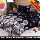 black gray dandelion pattern cotton bed linens bedding comforter set queen quilt duvet covers