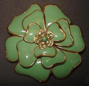 BROOCH (PIN): Vintage Green Enamel and Rhinestone Flower