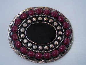 BELT BUCKLE:  Women's Silver with red cabochon stones