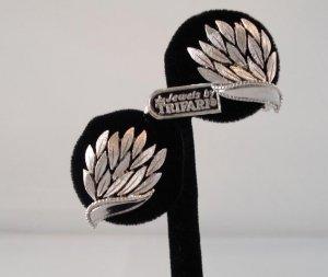 EARRINGS: Trifari Vintage Women's Silvertone Clip On