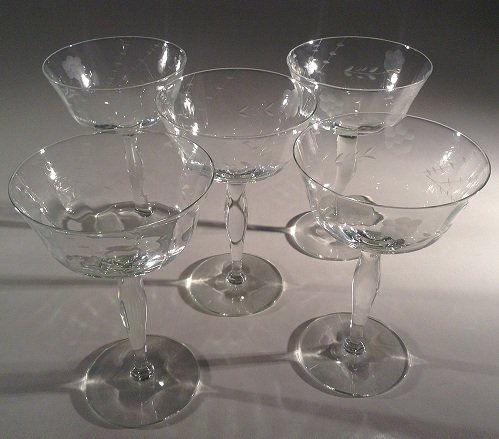STEMWARE:  classic cocktail coupe etched flower pattern plain stem
