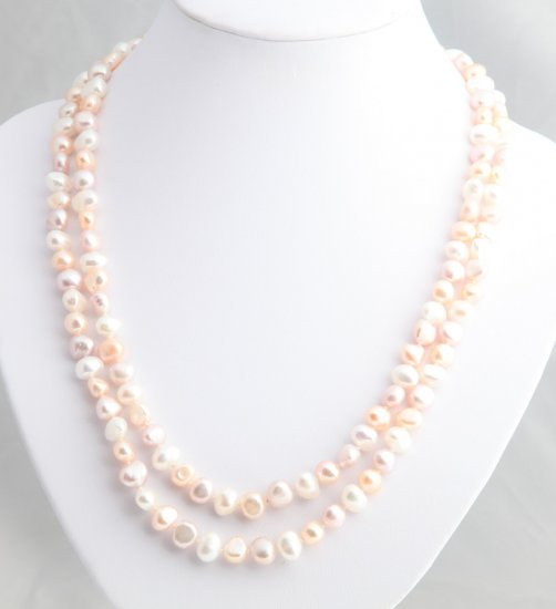 """48"""""""" Pastel freshwater peach, lavender and white pearl necklace"""