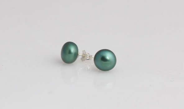 8-9 mm Green Pearl Stud Earrings