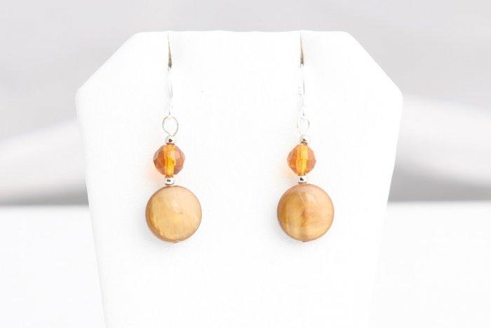 Auburn Pearl Shell and bead earrings
