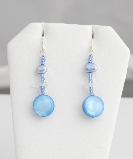 Blue Mother of Pearl, Pearl, and Crystal dangle earrings. Various colors available