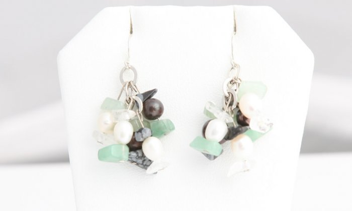 Double Drop Black and White Pearl Earrings