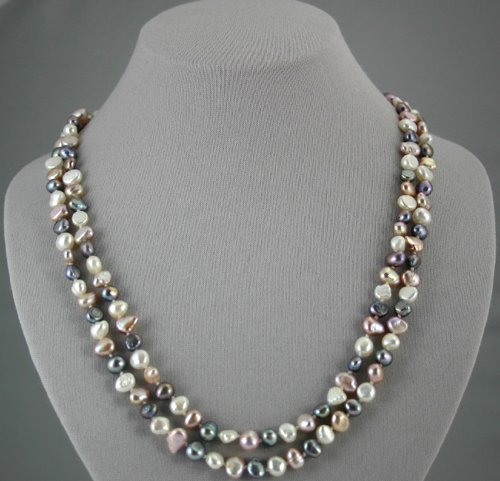 Lavender, Silver and White Pearl Necklace