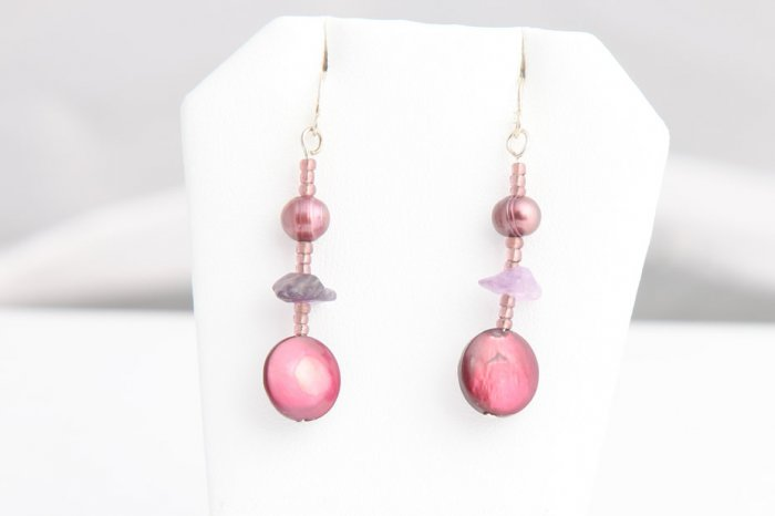 Magenta Mother of Pearl, Pearl, and Crystal dangle earrings. Various colors available