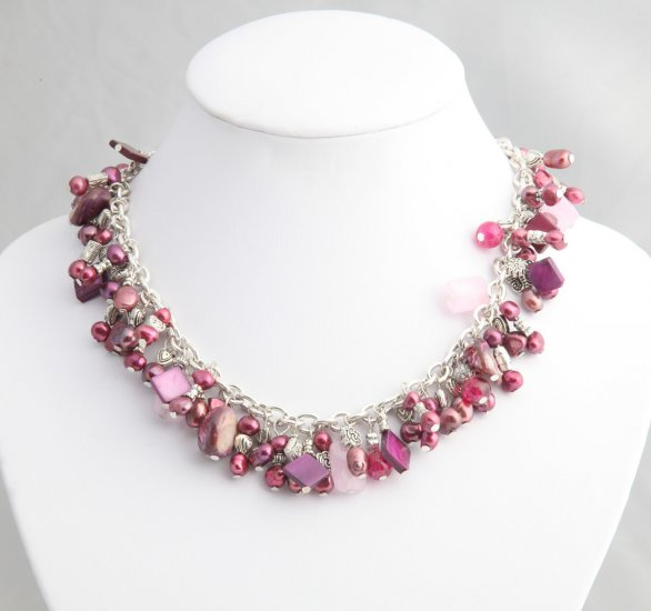 Magenta Pearl Roxanne Necklace