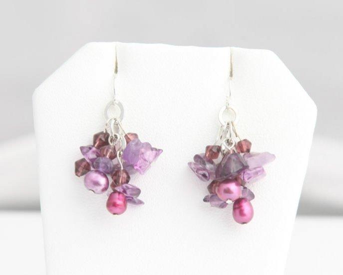 Mixed Media Magenta Pearl Cluster Earrings
