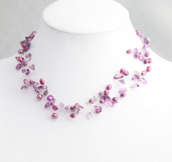 Mixed Media MagentaPearl Necklace