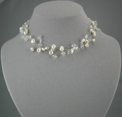 Mixed Media White Pearl Necklace