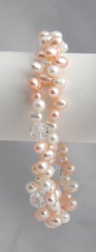 Peach Pearl and Lg Crystal Bracelet