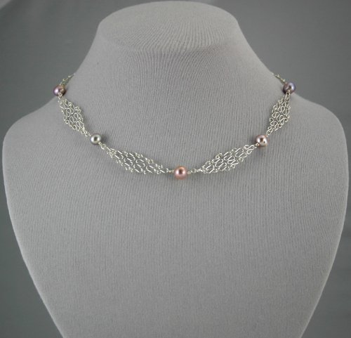 Silver Mesh Chain Lavender Pearl Necklace