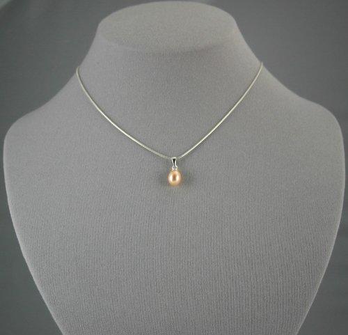 Single Drop Peach Pearl Pendant  18 inch