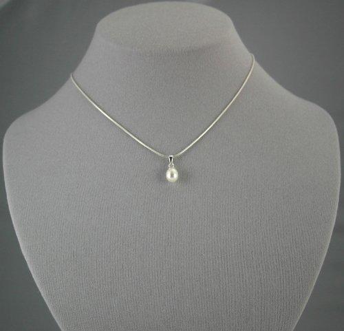 Single Drop White Pearl Pendant  16 inch