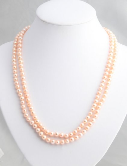 """Single Strand 6.5-7.5mm peach pearls, 46"""""""" necklace"""