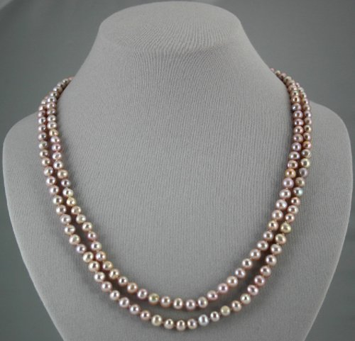 """Single Strand 6.5-7.5mm lavender pearls, 46"""" necklace"""