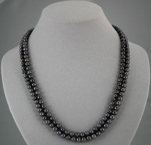 "Single Strand 6.5-7.5mm black pearls, 46"""" necklace"