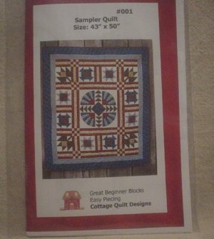 "Cottage Quilt Designs  Sampler Quilt  43""x50"" Plastic Template"