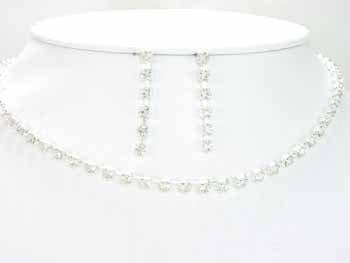 Silver Single Strand Crystal Necklace Set
