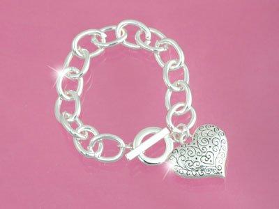 Silver Heart Toggle Bracelet