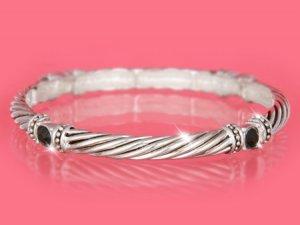 Silver w/ Black Crystals Designer Look Stackable Bracelet