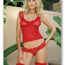 3 PC. Lace ruffle cami top, matching thong, and ruffle trim stockings Lingerie
